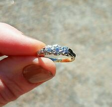 Antique diamond trilogy ring, platinum & 18k gold, ladies size 6, Art Deco