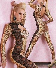 Wetlook ladies lingerie leopard lace bodysuit catwoman costume hen size 8 10 12