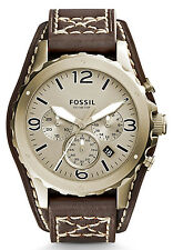 Fossil JR1495 Men's Nate Brown Leather Cuff Band Bronze Dial Chronograph Watch