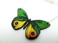 BEAUTIFUL STATEMENT GREEN & YELLOW EYE WOODEN BUTTERFLY SILVER NECKLACE PENDANT