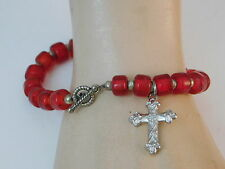 "Religious Cross Charm Bright Red Glass bead Silver tone 8"" Bracelet 7d 62"