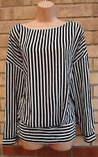 SOON WHITE BLACK STRIPE STRIPED LONG SLEEVE SILKY FEEL BLOUSE TUNIC TOP CAMI 18