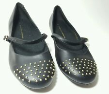 Dorothy perkins black studded flat faux leather shoes worn once UK 4