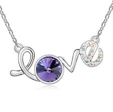 "Fashion Jewelry Silver ""Love"" Pendant Chain Purple Crystal Zirconia Necklace"