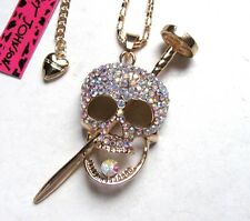 Betsey Johnson shiny crystal Skull / nails pendant Necklace#583L