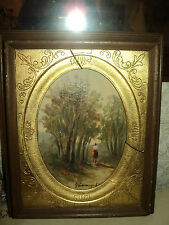 ANTIQUE OIL PAINTING ON CANVAS *IMPRESSIONISM *FRAMED