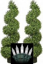 """2 Artificial 46"""" Boxwood Wide Spiral Topiary Tree Christmas Lights patio pool 4'"""