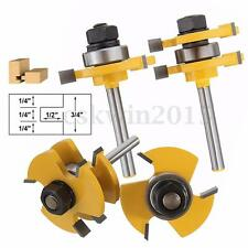 """SET Tongue and Groove Router Bit 1/4"""" Shank Woodworking Chisel Slot Cutter Tool"""