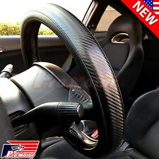 Premium Black 3D Carbon Fiber Leather Steering Wheel Cover Protector Slip-On 17