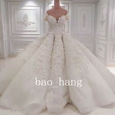Luxury Off Shoulder Crystal Wedding Dress Bridal Gown Cathedral Train Ball Gowns