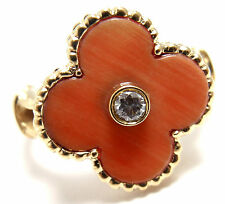 VAN CLEEF & ARPELS Vintage ALHAMBRA 18k Yellow Gold Diamond Coral Ring