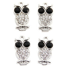 10pcs Silver Plated White&Black Rhinestone Alloy Owl Charms Jewellery Pendants C