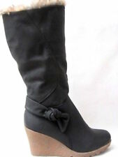 NEW LADIES WOMEN'S WEDGE HIGH HEEL KNEE HIGH BOOTS COLOUR BLACK SIZE 8