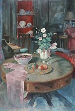 """Vintage Interior Scenery 24""""X36"""" Original Oil Painting on Stretched Canvas"""