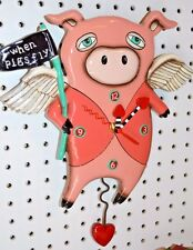 Michelle Allen Designs Pig Clock Whimsical WHEN PIGS FLY ship PRIORITY IN 24 hrs