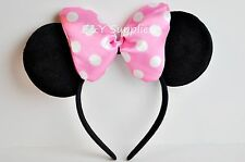 Minnie Mouse Ears Headband Black Pink Polka Dot Bow Party Favor Costume Minnie