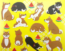 Japanese chiyogami paper stickers of Shiba Inu dog, watermelon slices - kawaii!