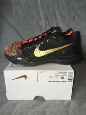 Nike Kobe X Elite Low Xmas - Size 10 - 5 Rings - Black/Metallic Gold 802560-076