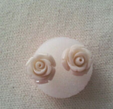 PRETTY  STERLING SILVER WHITE SEA CORAL ROSE CARVED POST EARRINGS - NEW