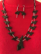Native American  Fetish Necklace�� Black and Silver,Varied Coyote