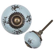 Möbelknopf Porzellanknauf Möbelknauf Keramik Vintage Antik Destroyed Hellblau