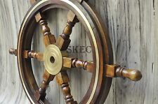 "24""Nautical Wooden Ship Steering Wheel Pirate Decor Wood Brass Fishing Wall Boat"