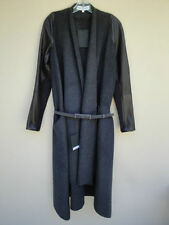 KAUFMANFRANCO GRAY WOOL BLACK LEATHER SWEATER TOP COAT JACKET NEW $3.2K BARGAIN