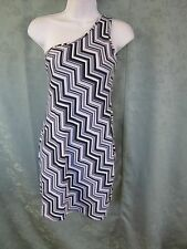 Pink Rose One Shoulder Dress Size Medium Knit Zig Zag Striped NEW NWT Body Con