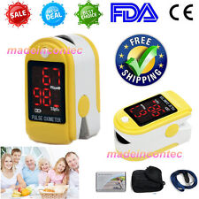 LED Fingertip Pulse Oximeter,Blood Oxygen SPO2 Monitor CE Home USE CONTEC Yellow