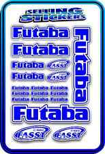 FUTABA SERVO RADIO RX TX 2.4G FLIGHT REMOTE CONTROL STICKERS FASST BLUE WHITE