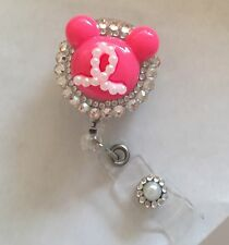 Bling Pink Minnie Mouse retractable ID HOLDER badge reel lanyard retractor