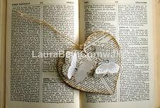 In Legno da Appendere Cuore AUTENTICHE VINTAGE dizionario pagine e Farfalle