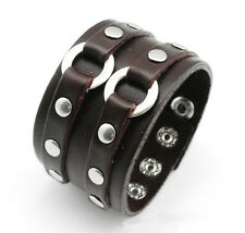 Brown Double Circle Leather Bracelet Cuff Wristband Gothic Biker Rock