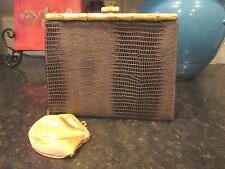 Vintage Leather After Five L&M Croc Embossed Brown Coin Purse Evening Clutch