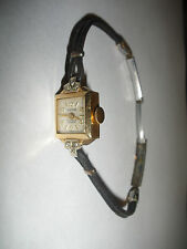 Vintage Herna Swiss lady`s 14k gold with diamonds watch wristwatch 17 jewels