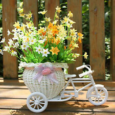Plastic White Tricycle Bike Design Flower Basket Container Weddding Decoration