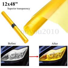 "12""x48"" Golden Yellow Headlight Tailight Fog Light Tint Vinyl Film Sheet Sticker"