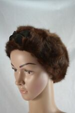 VINTAGE HAUTE FURRURE brown rabbit fur beret style hat 1940s with velvet bow