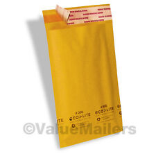 250 4x8 #000 Ecolite Brand Made In (USA) Kraft Bubble Mailers Padded Envelopes