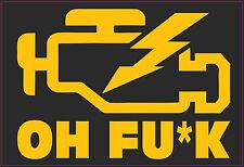 x2 CHECK ENGINE LIGHT WARNING DECAL STICKER JDM DRIFT DUB BOMB VW AUDI HOOD RAT