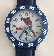 Marvel Kid's Spider-Man Stainless Steel Time Teacher Watch -Blue