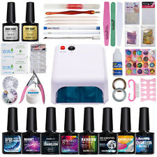 Mondelones 36W UV Lamp KITS Set Base Top Coat UV 5 Color Gel Nail Polish kit