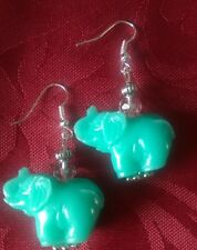 Acrylic coral effect turquoise blue elephants, silver plated 27x20mm. hook (277)