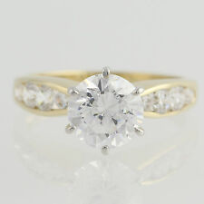 Cubic Zirconia Engagement Ring - 10k Yellow & White Gold Size 7 Fashion CZ