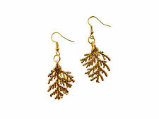 Cypress Christmas Leaf 24k Gold Dipped / Plated Hook Earrings French Wire Dangle