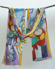 """Oblong 100% Silk Scarf Shawl Wrap Oil Painting Pablo Picasso's """"The Sculptor"""""""