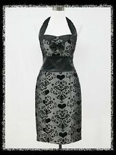 dress190 GREY & BLACK HEART HALTER PENCIL 50s ROCKABILLY PIN-UP VINTAGE DRESS 18