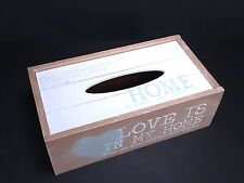 "Shabby Chic Style Tissue Wooden Box With Heart And "" Love Is In My Home """