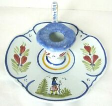 HB HenRiot Quimper France Faience Pottery Breton Man One Finger Candle Holder