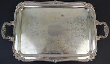 Antique Sheffield Silver on Copper Large Handled Footed Serving Platter
